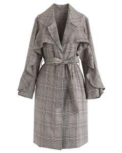 Ruffle Trim Belted Plaid Coat