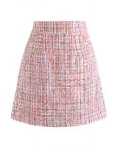 Sequins Tweed Bud Mini Skirt in Pink
