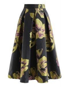 Flower Pattern Organza A-Line Midi Skirt
