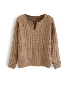 V-Shape Cutout Cable Knit Sweater in Tan