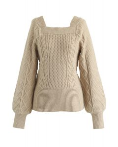 Square Neck Soft Knit Sweater in Camel