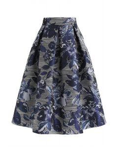Floral Jacquard A-Line Midi Skirt