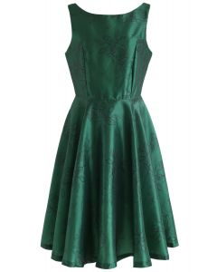 Emerald Vintage Flower Sleeveless Midi Dress