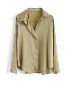 V-Neck Satin Smock Top in Bronze