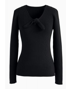 V-Neck Bowknot Long Sleeves Knit Top in Black