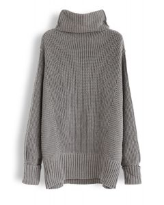 Batwing Sleeves Cowl Neck Knit Dress in Grey