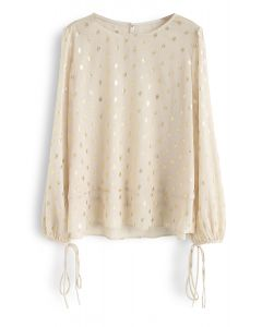 Oval Dots Print Semi-Sheer Top in Cream