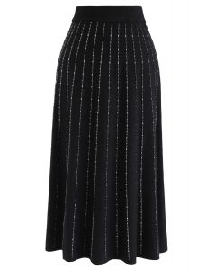 Striped Knit A-Line Midi Skirt in Black