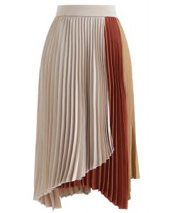 Color Blocked Satin Asymmetric Pleated Skirt