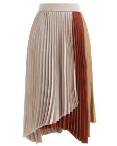 Color Blocked Satin Asymmetric Pleated Skirt