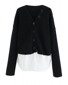 V-Neck Ribbed Spliced Knit Cardigan in Black