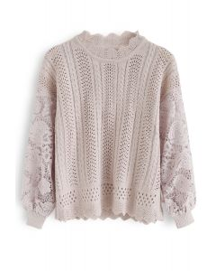 Eyelet Trim Crochet Sleeves Knit Top in Pink
