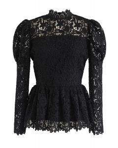Full Floral Crochet Peplum Top in Black