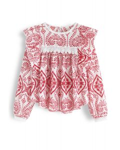 Eyelet Embroidered Ruffle Top in Red