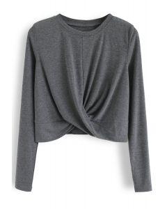 Cross Twist Crop Top in Grey