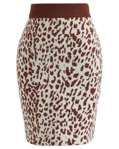 Leopard Print Mini Knit Skirt in Caramel