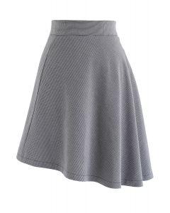 Houndstooth Asymmetric A-Line Skirt in Smoke