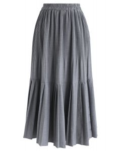 Pleated Hem A-Line Midi Skirt in Grey