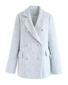 Pearl Buttons Trimmed Tweed Blazer in Blue