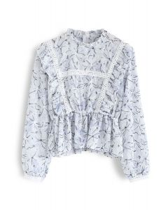 Embroidered Floral Ruffle Semi-Sheer Top