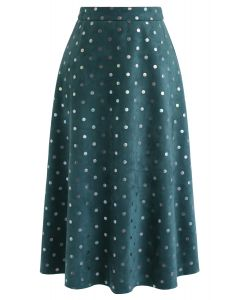 Shiny Polka Dots Faux Suede Midi Skirt in Teal