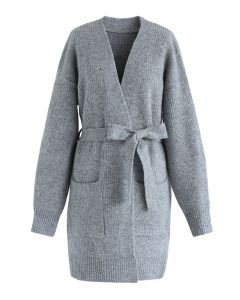 Belted Pockets Open Front Knit Cardigan in Grey