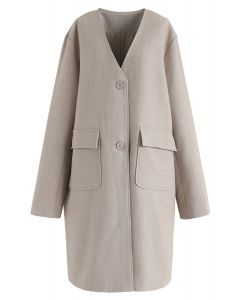 V-Neck Pockets Longline Coat in Tan