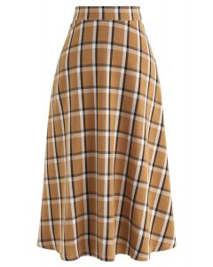 Grid A-Line Midi Skirt in Mustard