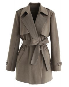 Open Front Belted Trench Coat in Brown