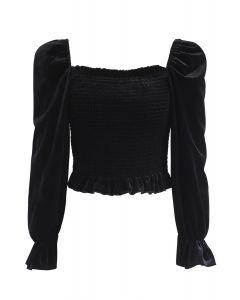 Square Neck Shirred Velvet Crop Top in Black
