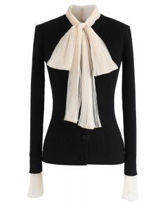 Mesh Bow Neck Long Sleeves Ribbed Knit Top