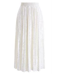 Shiny Velvet Pleated Midi Skirt in Pearl White