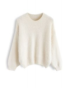 Round Neck Fuzzy Knit Sweater in Cream