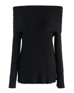 Off-Shoulder Ribbed Knit Sweater in Black