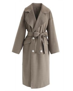 Double-Breasted Wool-Blend Belted Coat in Brown