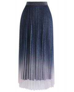 Gradient Shiny Mesh Pleated Skirt in Blue