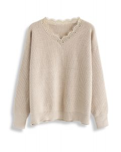 Lacy Neck Ribbed Knit Sweater in Light Tan