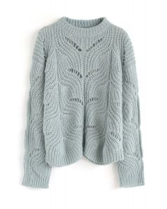 Hollow Out Loose Knit Sweater in Sea Green
