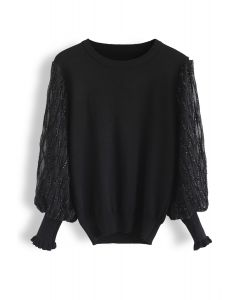 Shiny Lines Puff Sleeves Knit Top in Black