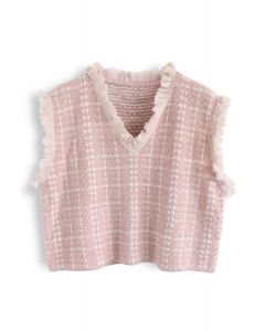 Basic Texture Raw Edge Knit Vest in Pink