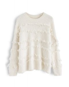Fringe Trim Fuzzy Knit Sweater in Ivory