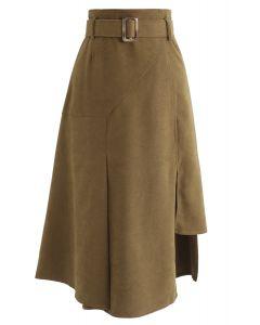 Belted Asymmetric Split Midi Skirt in Camel