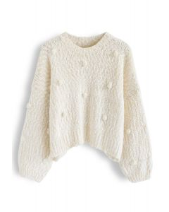 Pom-Pom Decorated Fuzzy Knit Crop Sweater in Cream