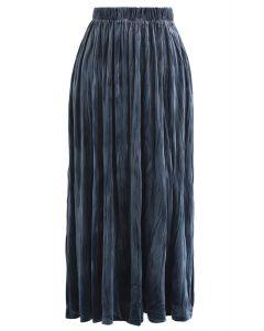 Velvet Pleated Midi Skirt in Dusty Blue