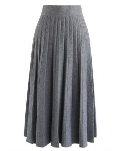 Parallel A-Line Knit Midi Skirt in Grey