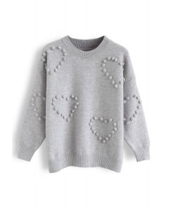 Pom-Pom Embellished Knit Sweater in Grey