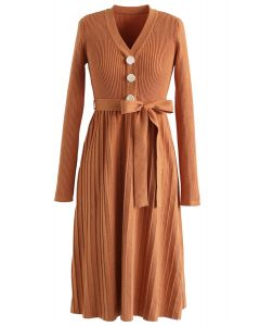 Orange V-Neck Buttoned Pleated Knit Dress