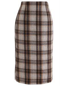 Split Hem Brown Plaid Pencil Midi Skirt