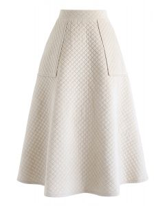 Pockets Quilted Velvet A-Line Midi Skirt in Cream
