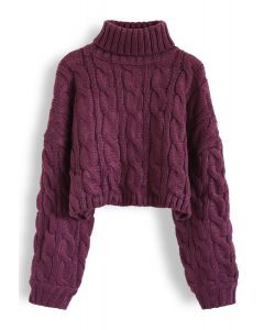 Turtleneck Braid Knit Crop Sweater in Berry